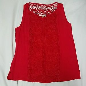 Red Lace Detail Dressy Tank Top NWOT